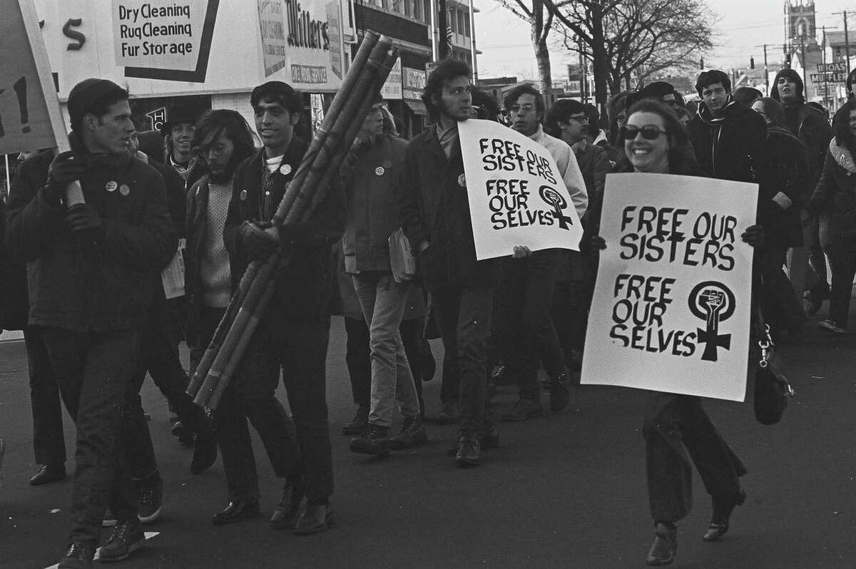 A crowd marches during a rally in support of the Black Panther Party in 1971 in New Haven, CT.