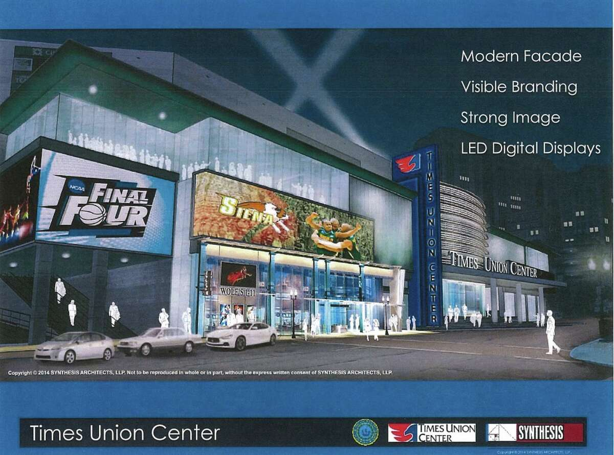 A proposed rendering of what the South Pearl Street entrance to the county-owned Times Union Center could look like after more than $12 million in upgrades. Click through the gallery to see the Times Union Center through the years. (Synthesis Architects)