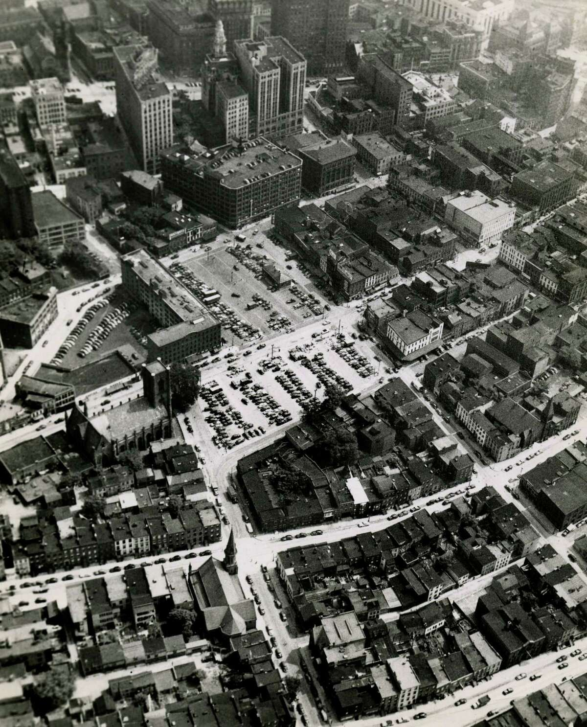 Here's an aerial view of Albany showing Lyon Block Building, market place on Hudson Ave. at the current Times Union Center site Aug. 14, 1954.  (Times Union archive)