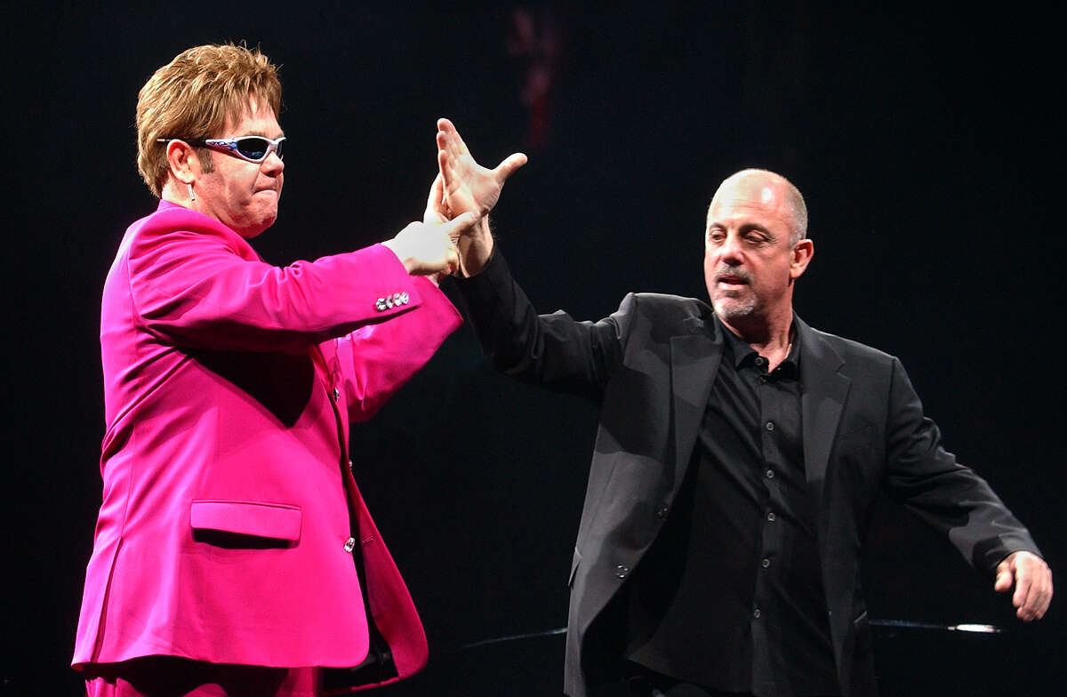Billy Joel once held the all-time attendance record at the arena. Elton John and Billy Joel greet each other and fans before they perform to a sold out show at the Pepsi Arena on Thursday, April 24, 2003. Pepsi bought the arena's naming rights in 1997. (Lori Van Buren/Times Union)