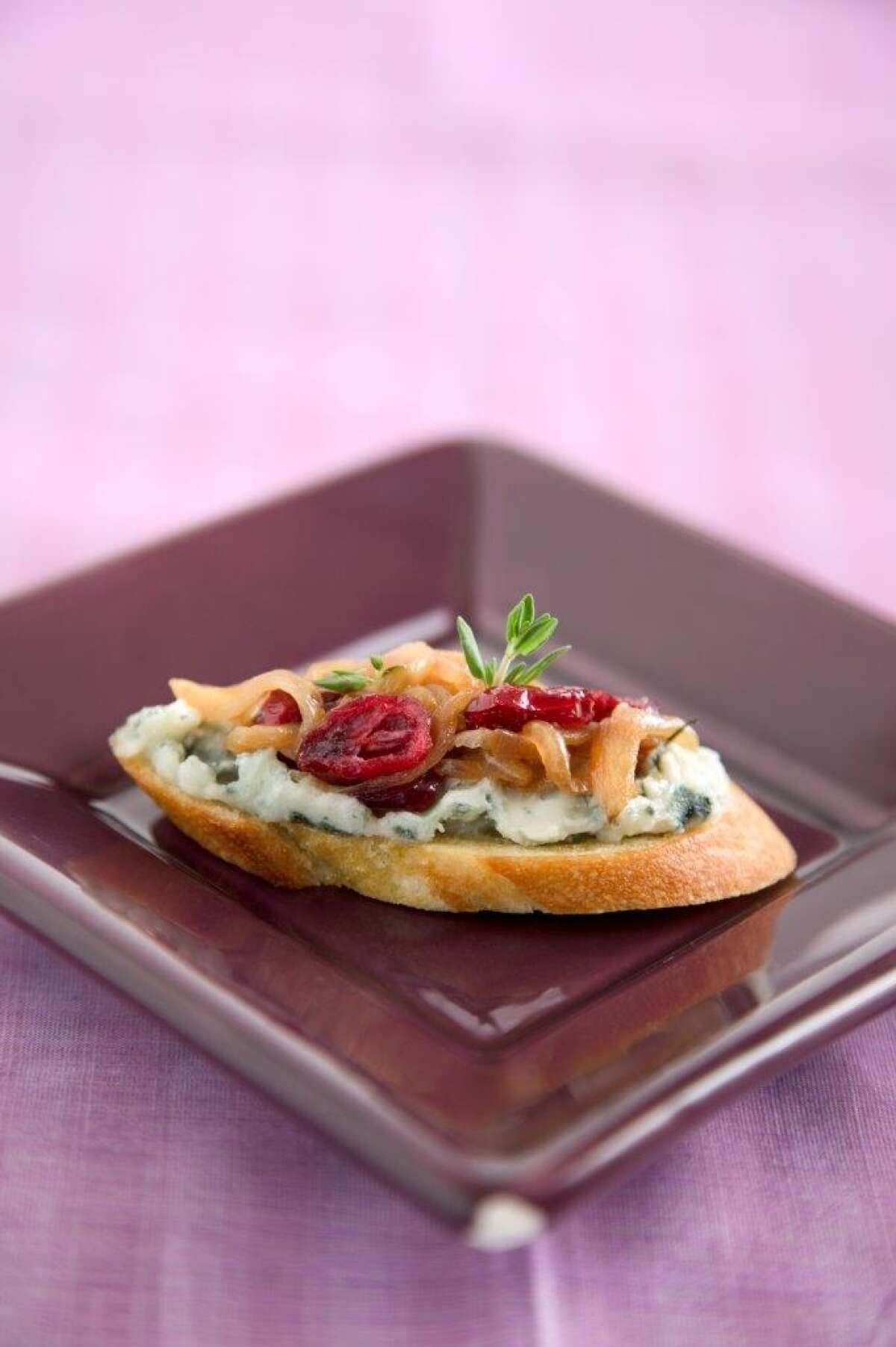 Tartines of Roquefort With Shallot-Cranberry Confit