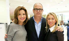 Kate Harbin Clammer (left) with fashion designer Reed Krakoff and his friend and luncheon host, Juliet de Baubigny, at Neiman Marcus.