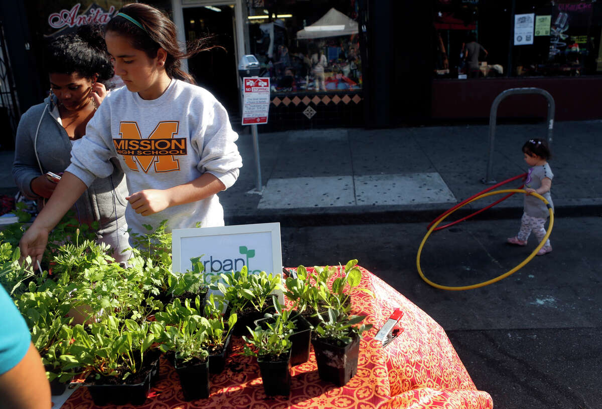 Mission High School student Nigina Khamidova (center) and June Jordan School for Equity student Carmen Perez (left) set up the Urban Sprouts' table at a farmer's market on 22nd Street in San Francisco, Calif. on Thursday, October 9, 2014.