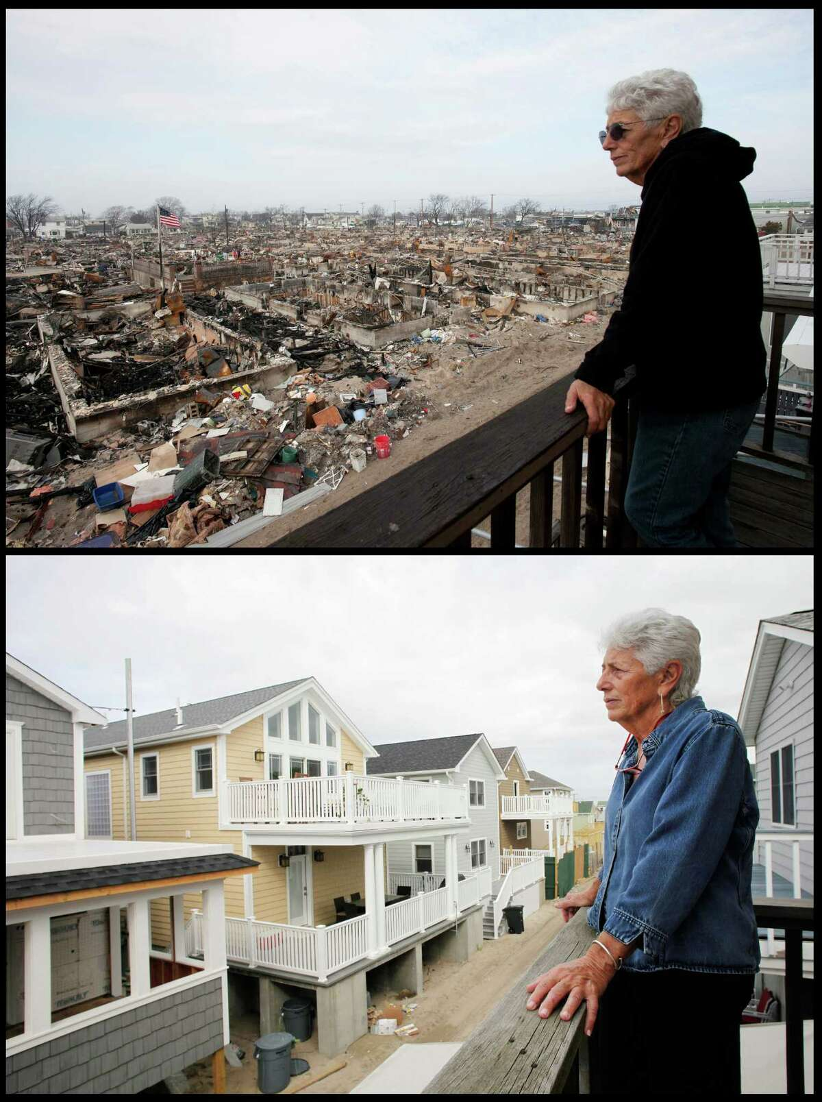 In this combination of photos from Dec. 4 2012, and Oct. 15, 2014, Anne Hoerning looks from her second floor balcony at the remains of the over 100 houses that burned during Superstorm Sandy in the Breezy Point section of the Queens borough of New York, top, and replacements for houses that were destroyed by fire two years earlier. (AP Photo/Mark Lennihan) ORG XMIT: NY541