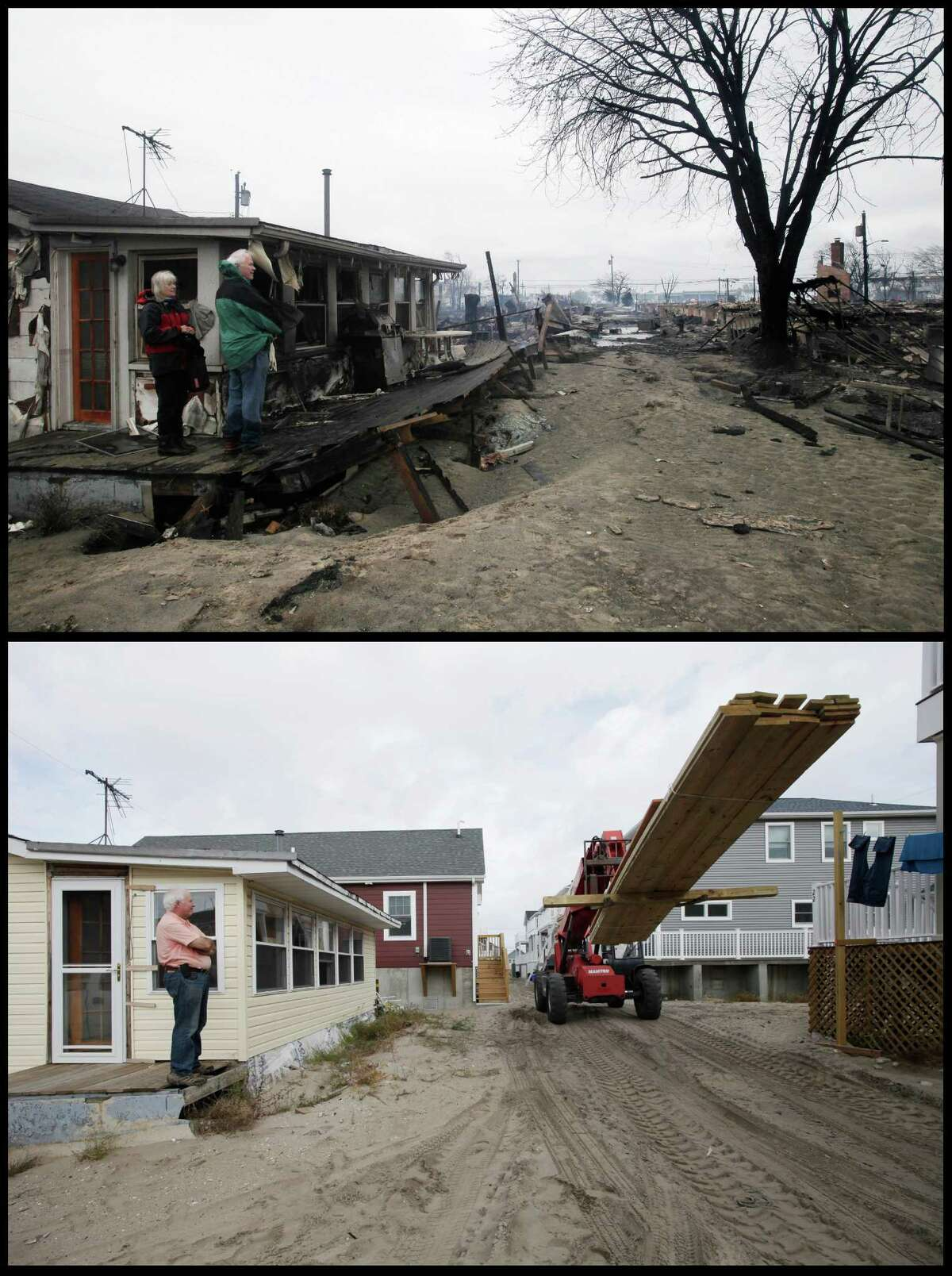 In this combination of photos from Oct. 30, 2012, and Oct. 15, 2014, Sheryl Parker, left, and her husband, John Walsh, visit their bungalow the morning after Superstorm Sandy raged through the community of Breezy Point in the Queens borough of New York, and John Walsh watches from the porch of his bungalow as a tractor carries a load of wood for a house under construction. (AP Photo/Mark Lennihan) ORG XMIT: NY542