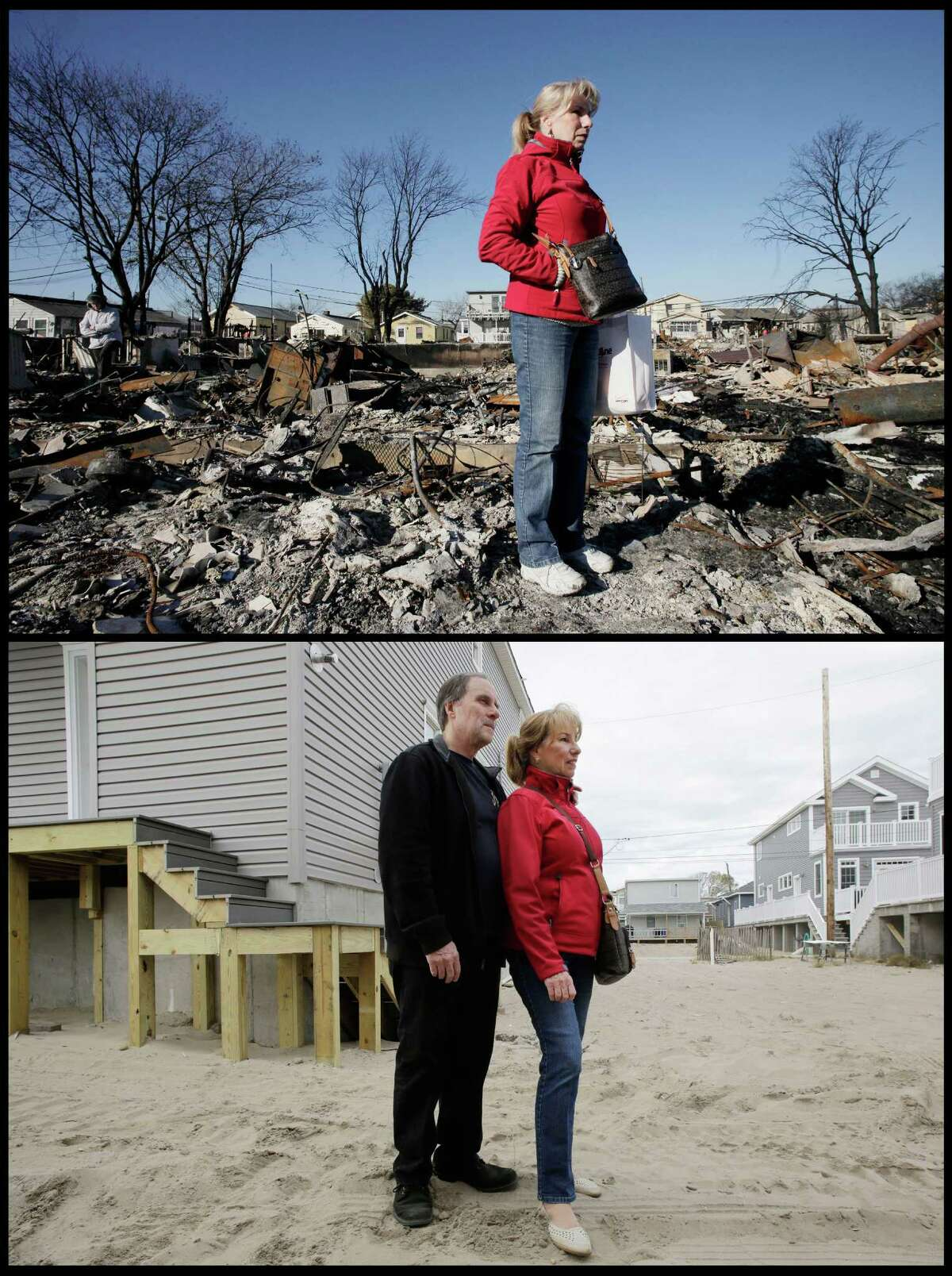 In this combination of photos from Nov. 14 2012, and Oct. 21, 2014, Cathy O'Hanlon poses for a photo in front of the charred remains of her home in the Breezy Point section of the Queens borough of New York. and new construction to replace them and , Michael and Cathy O'Hanlon pose for a photo in front of their newly-built home, left, nearly two years later. (AP Photo/Mark Lennihan) ORG XMIT: NY543