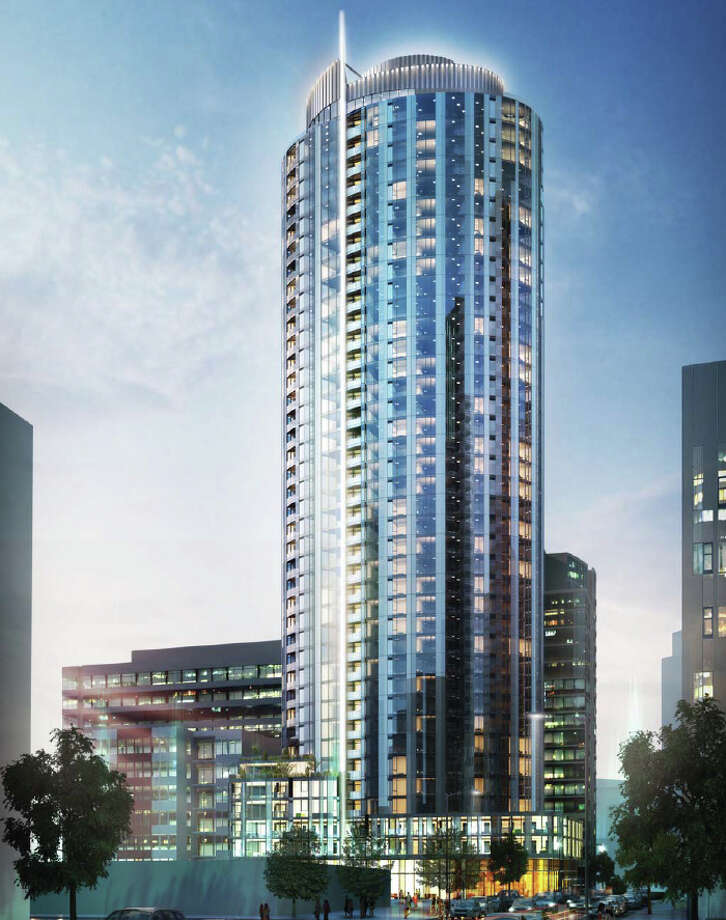 A proposed tower at 2208 Eighth Ave. is shown from Blanchard Street in this artist's depiction. Photo: Clise Properties, Graphite Design Group