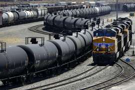 Oil imports by rail account for just about 1 percent of total shipments to California refineries, but they are rising rapidly. Above, trains at a Union Pacific yard in Bloomington (San Bernardino County).
