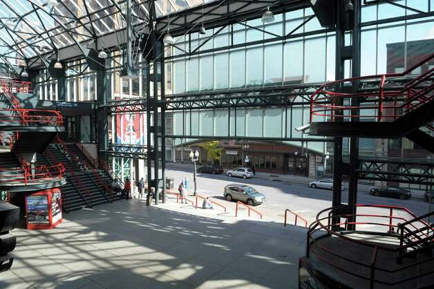 A view of the atrium of the Times Union Center, seen here on Monday, Oct. 27, 2014, in Albany, N.Y.  County Executive Dan McCoy is backing a $13.1 million plan to enclose the atrium of the Times Union Center and create an all-season indoor garden in hopes of luring major national sporting events back to the county-owned downtown arena with new amenities and more space. (Paul Buckowski / Times Union) Photo: Paul Buckowski / 00029216A