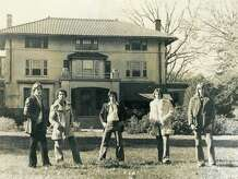 """The new book """"The Boomers"""" chronicles the adventures of the Stamford band Adonis in the 1970s. In this 1979 publicity photo - taken in front of a Stamford mansion that would burn to the ground three years later - are (from left)  Peter Klein, Tom Mackno, Steven Matsis, Michael Macari, and Ben Lionetti."""