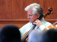 """Daniel Miller, plays his cello during the Chamber Players of the Greenwich Symphony Orchestra """"Sounds for a Summer Night"""" performance at the Greenwich Arts Council at 299 Greenwich Ave., in Greenwich, Conn., in July 2014. The players will reconvene for a the second concert of their 2014-15 season on Nov. 9 and 10, 2014."""