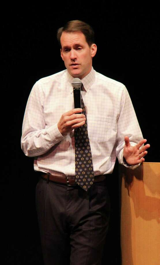 Congressman Jim Himes address upper-school students on Monday, Oct. 27, at Greenwich Academy. Photo: Contributed Photo / Greenwich Time