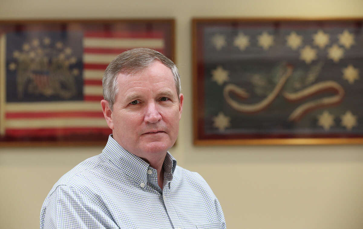 Retired Chief Master Sgt. of the Air Force Eric Benken works as the USAA military relations manager, Monday, Oct. 27, 2014. He chose to live in San Antonio because of the job offer.