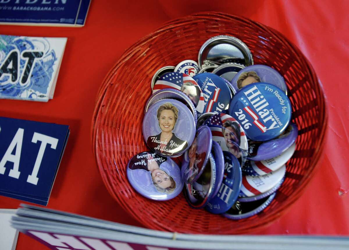 Buttons for a possible Hillary Rodham Clinton campaign are on display at the Democratic Party headquarters in Pleasanton.
