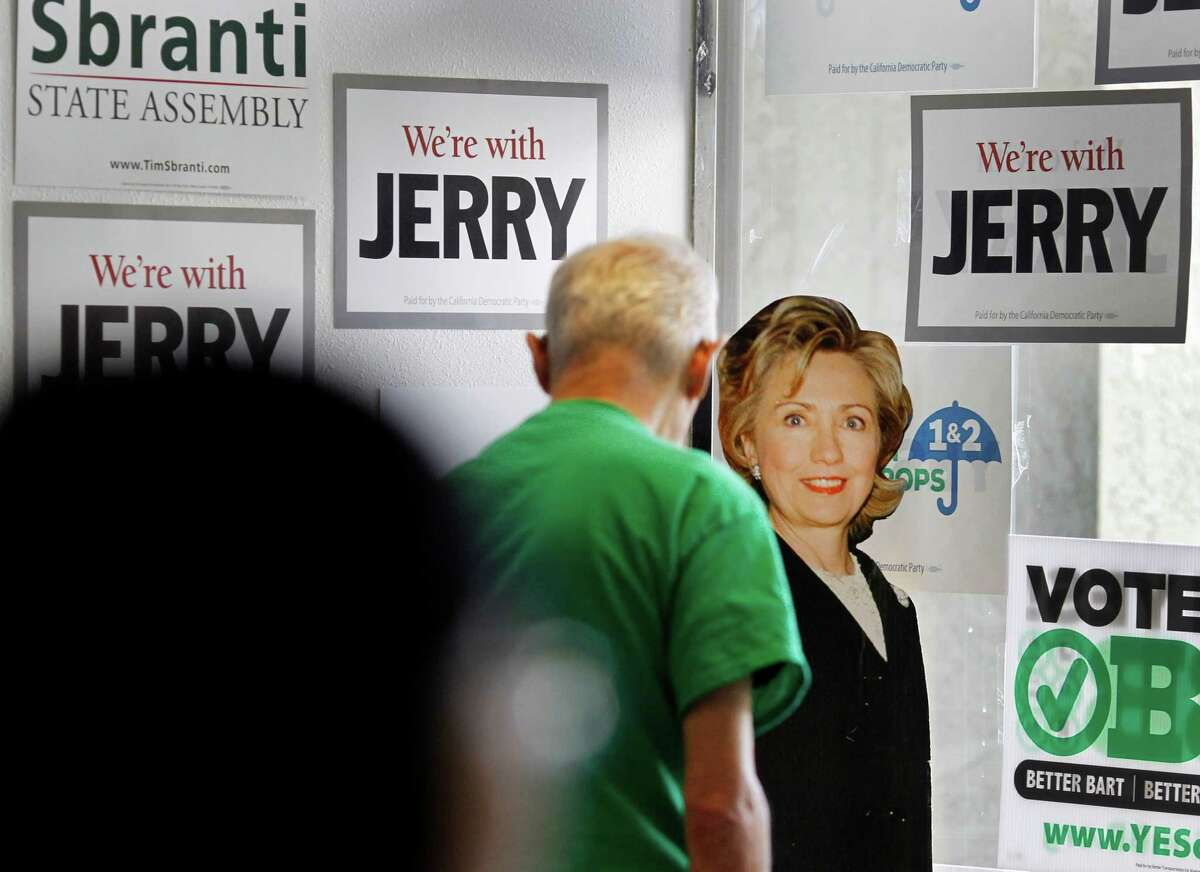A cardboard cutout of possible candidate Hillary Rodham Clinton stands in the corner of the Alameda County Democratic Party headquarters in Pleasanton.