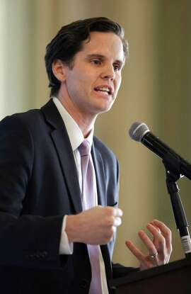 Marshall Tuck, a former charter schools executive who is running for superintendent of public instruction, at the Sacramento Press Club in September.