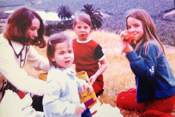 Maggie Galehouse (far right), picnicking with her family in Majorca.