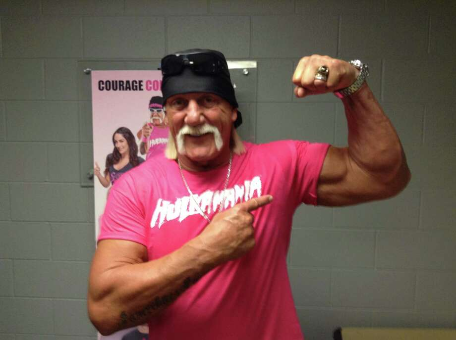 "Hulk Hogan promotes the fight against breast cancer and the World Wrestling Entertainment's joint campaign with the Susan G. Komen, ""Courage Conquer Cure,"" in San Antonio before the airing of WWE Monday Night Raw. Photo: By Chris Quinn, San Antonio Express-News"
