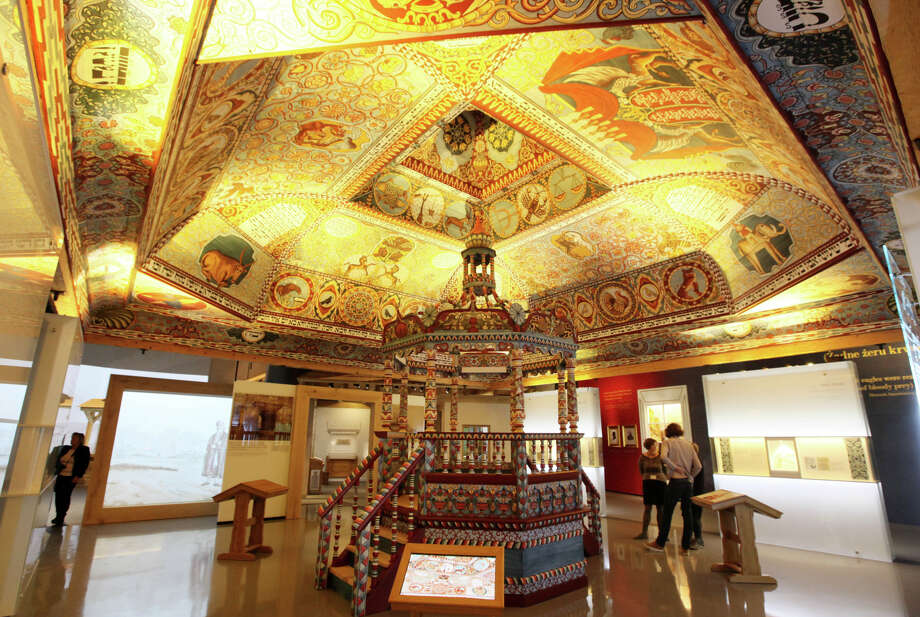 A wooden 17th century synagogue once located in Gwozdziec,, a formerly Polish town in Ukraine, is reconstructed at the POLIN Museum in Warsaw. Photo: Czarek Sokolowski / Associated Press / AP