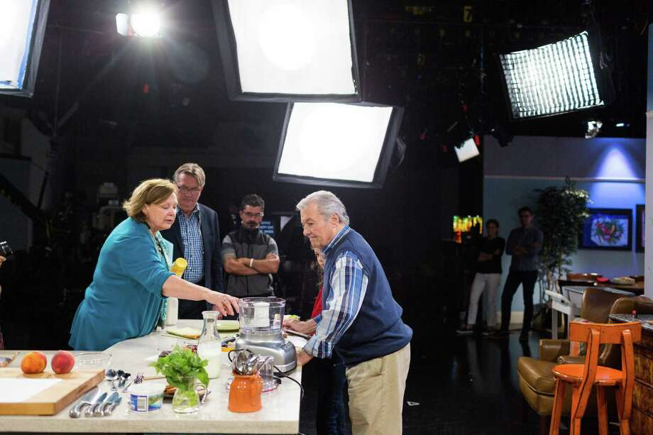 """Jacques Pepin, the French chef and host of KQED's """"Heart and Soul"""" cooking show, talks with producer Tina Salter before taping at KQED in San Francisco, Calif., Monday, October 13, 2014. Photo: Jason Henry / Special To The Chronicle / ONLINE_YES"""
