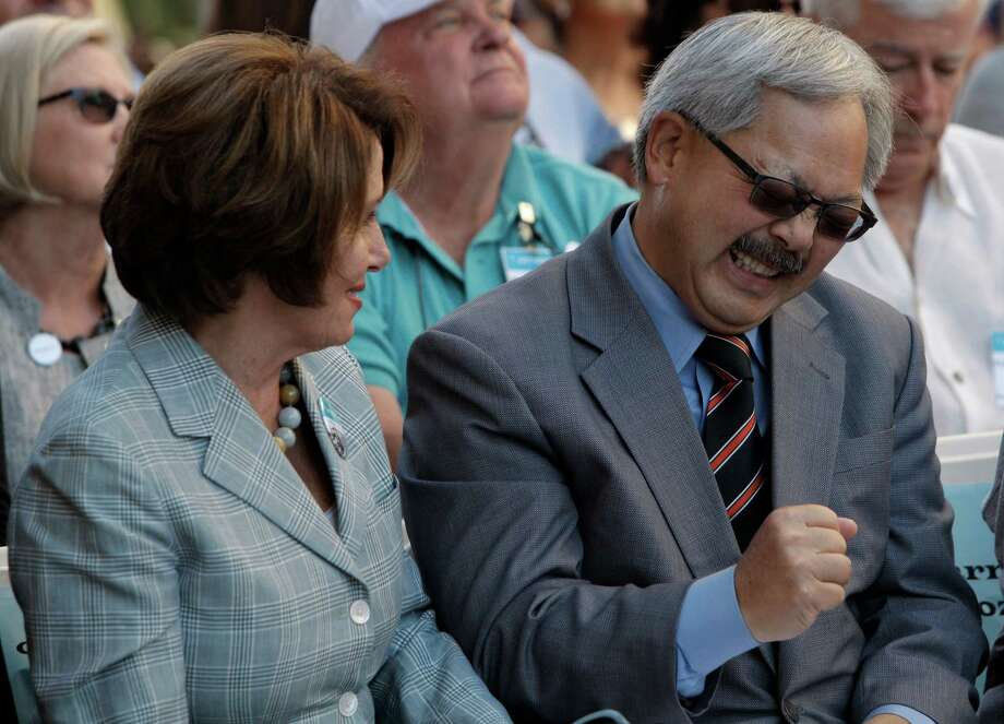 "Mayor Ed Lee jokes with Congresswoman Nancy Pelosi during the ribbon cutting and opening day of St. Anthony's newest dinning room to help the homeless and people in-need on Jones and Golden Gate Ave. in San Francisco, Calif., on Saturday October 4, 2014.  Senior Manager Karl Robillard says they have been looking into this new location for 15 years.  Originally it was going to be a auto-body shop but the community saw no future for it, so St. Anthony decided to use the space.  St. Anthony of San Francisco marks its 64th. birthday and its known as the ""Miracle on Jones St."" Photo: Daniel E. Porter / The Chronicle / ONLINE_YES"