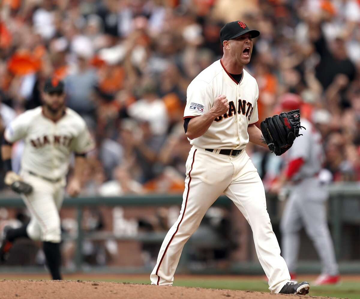 Giants Tim Hudson celebrates an inning ending strike out in the fifth during Game 3 of the NLCS at AT&T Park on Tuesday, Oct. 14, 2014 in San Francisco, Calif.
