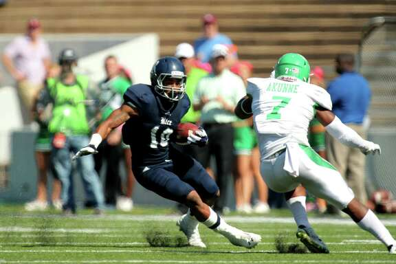 Rice's Brandon Hamilton, seen returning a kick against North Texas, ranks 12th in Football Bowl Subdivision with a kickoff return average of 27.7 yards and also has been used at other positions, including running back and defensive end.