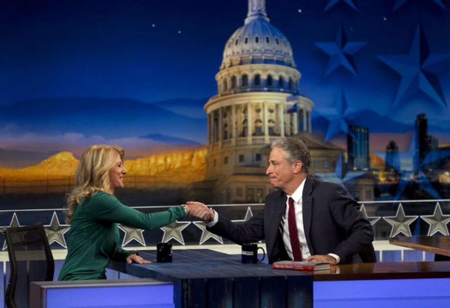 "Wendy Davis on ""The Daily Show"" with Jon Stewart is in Austin on Monday. Photo: Ralph Barrera / Austin American-Statesman. State"