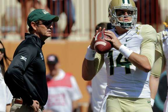 Baylor coach Art Briles, left, and quarterback Bryce Petty each had a lot to think about in the week after the Bears' first loss of the season, 41-27 at West Virginia.