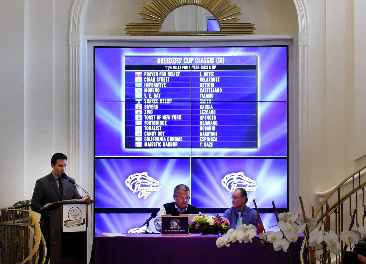 The post positions have were drawn Monday evening Oct. 27, 2014, for the 31st running of the Breeders' Cup Classic at the ceremony held at the Santa Anita Race Track in Arcadia, California. (Skip Dickstein/Times Union)