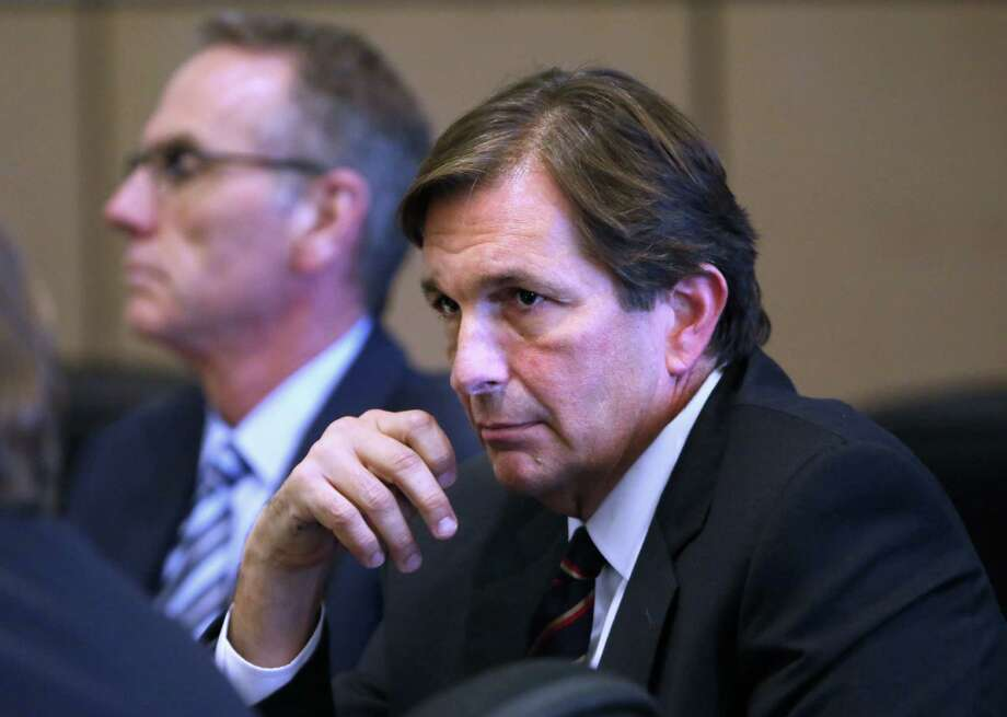 Houston billionaire John Goodman, in court Monday with defense attorney Scott Richardson, is on trial in West Palm Beach, Fla., on DUI manslaughter charges. Photo: Lannis Waters / Lannis Waters