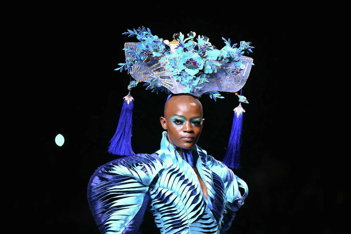 A model showcases designs on the runway at MGPIN 2015 Mao Geping Makeup Trends Launch show during Mercedes-Benz China Fashion Week Spring/Summer 2015 at Beijing Hotel on October 27, 2014 in Beijing, China.