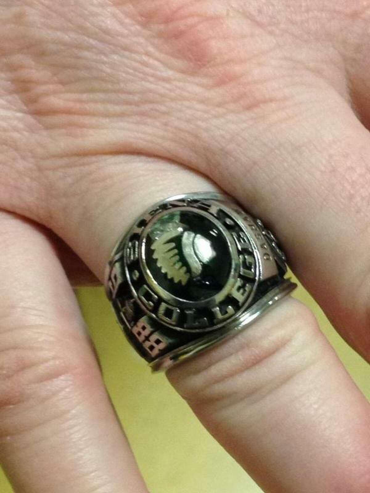Here's the 1988 NIT ring anonymously returned to Siena trainer Greg Dashnaw last week. It was stolen in 1991. (Mark Singelais / Times Union)
