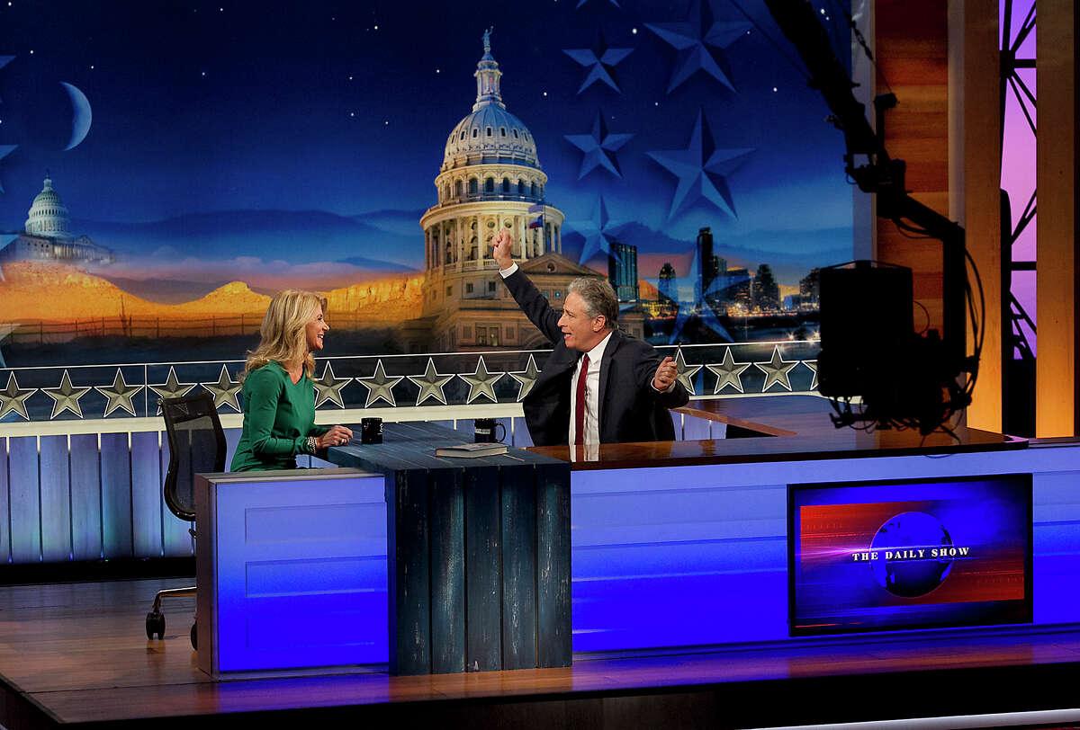 Jon Stewart chats with Davis.