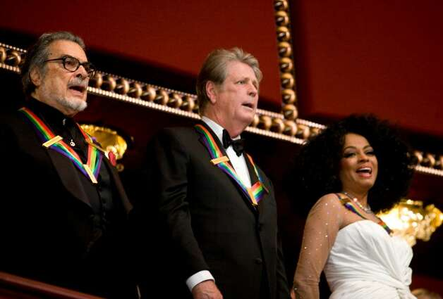 WASHINGTON - DECEMBER 2:  (L-R) Pianist Leon Fleisher, musician Brian Wilson and singer Diana Ross stand during the 30th Annual Kennedy Center Honors December 2, 2007 in Washington, DC.  Actor Steve Martin, singer Diana Ross, pianist Leon Fleisher, director Martin Scorsese and musician Brian Wilson were honored for their contribution to the American arts.  (Photo by Brendan Smialowski/Getty Images) *** Local Caption *** Diana Ross;Brian Wilson;Leon Fleisher Photo: Brendan Smialowski, Getty Images / 2007 Getty Images