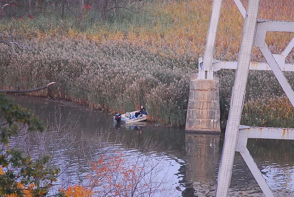 Police search the Hudson River after a report of a person jumping from the Rip Van Winkle Bridge on Tuesday, Oct. 28, 2014. (Lance Wheeler/Special to the Times Union)