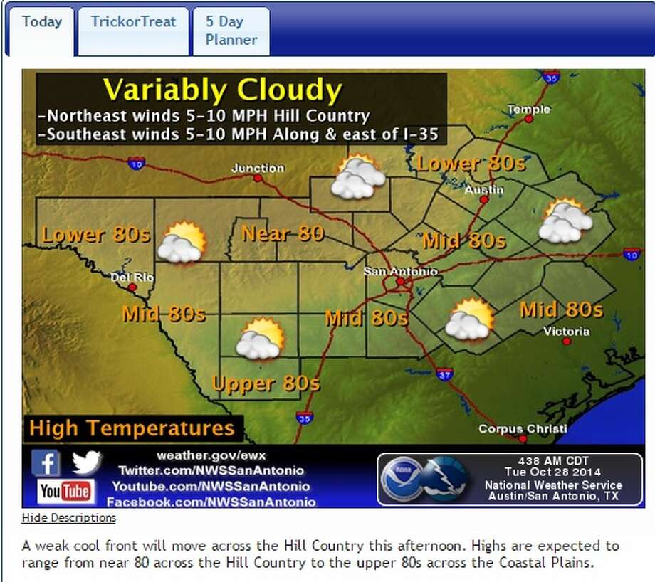 Weather outlook for October 28, 2014. Photo: National Weather Service