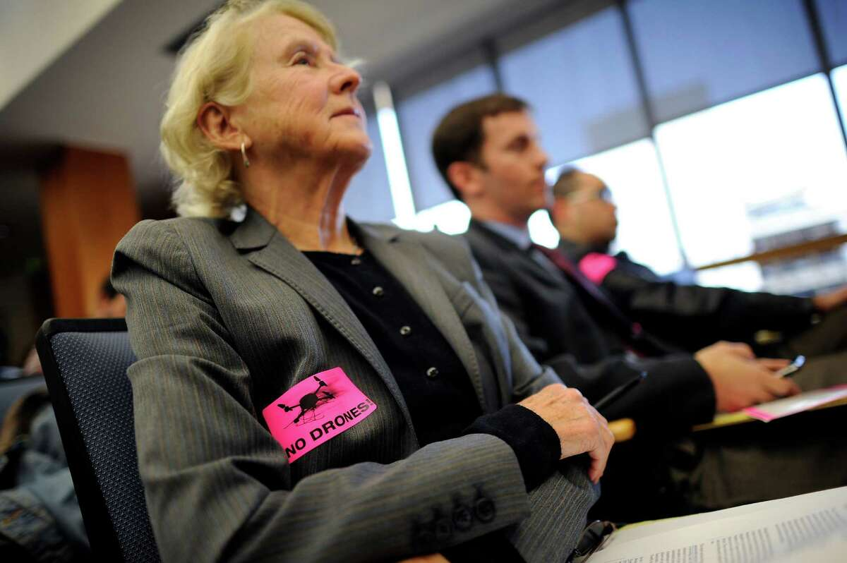 Attorney Anne Weills at an Alameda County Board of Supervisors hearing in February 2014. She is one of four women suing the county Sheriff's Office for allegedly being stripped and paraded in front of men following an arrest at a protest.