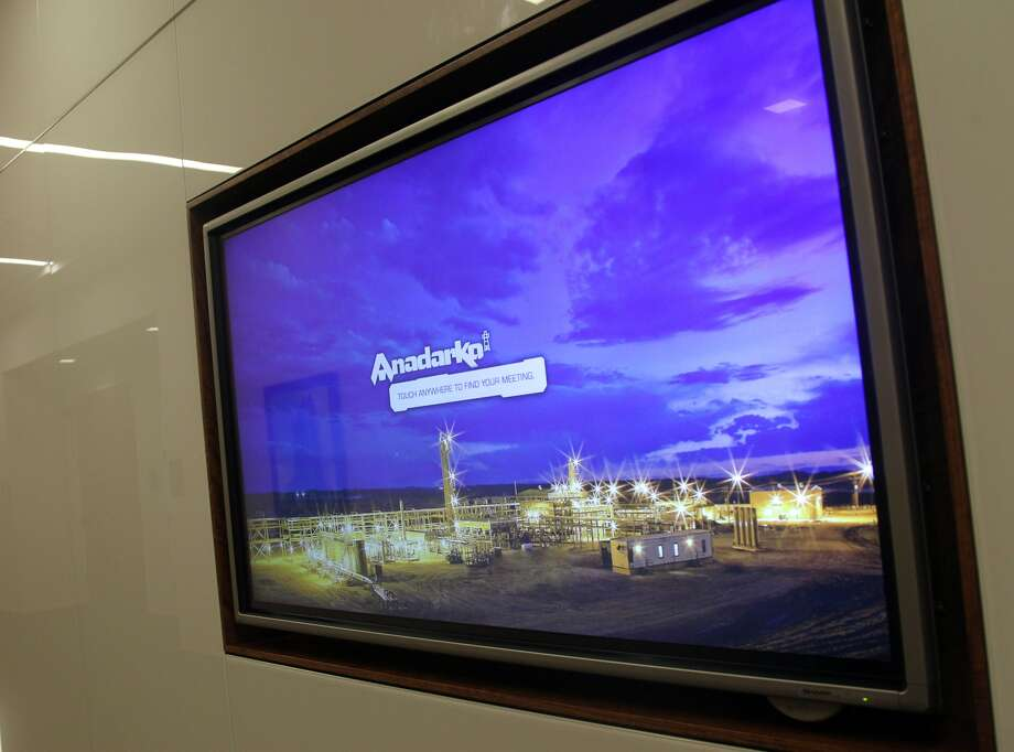 Touch screen plasma keeps meeting schedule info set near elevator banks in Anadarko Hackett Tower in The Woodlands Thursday October 2, 2014. (Billy Smith II / Chronicle)