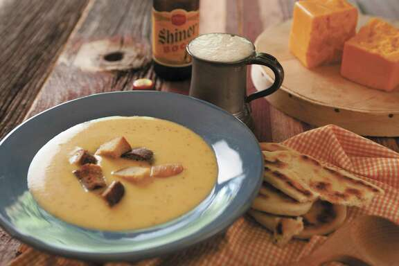 Shiner Bock and Cheddar Cheese Soup with Jalapeños and Garlic Croutons.