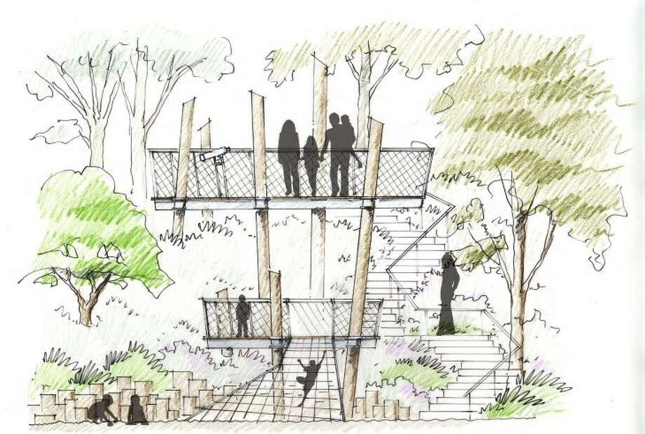 The new nature park will feature a unique tri-level tree house which will allow visitors a view across the Bayou. Photo: Buffalo Bayou Partnership