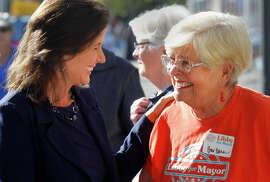 Oakland City Councilwoman Libby Schaaf (left) speaks with her mother, Barbara Schaaf, before the endorsement.