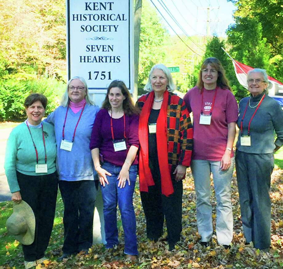 Pleased to pose for posterity at Seven Hearths was the committee who put on the Oct. 5, 2014 double birthday celebration for Kent's 275th and the Kent Historical Society's 60th. Gracing the committee were, from left to right, Julia Samartini, Nancy Schaefer, Melissa Cherniske, Zanne Charity, Lynn Worthington and Beth Dooley.  Courtesy of Darrell Cherniske Photo: Contributed Photo / The News-Times Contributed