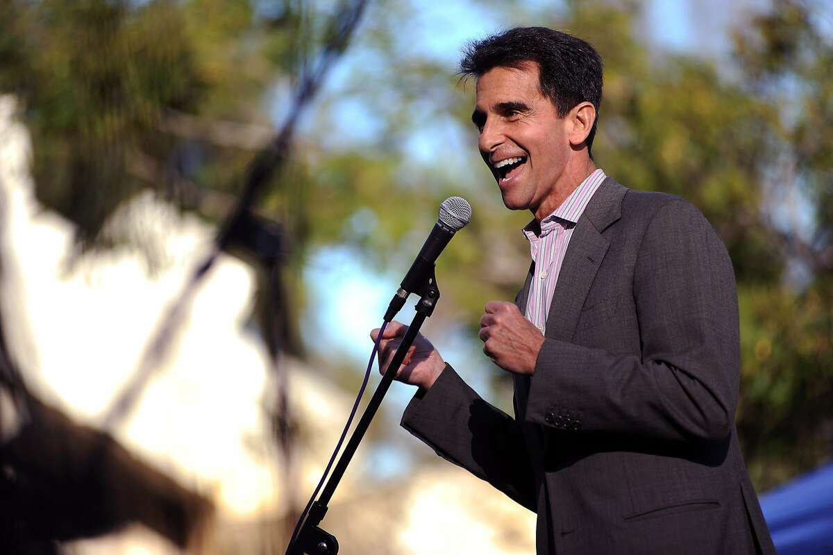 In this file photo, Senator Mark Leno speaks to a crowd at Justin Herman Plaza.