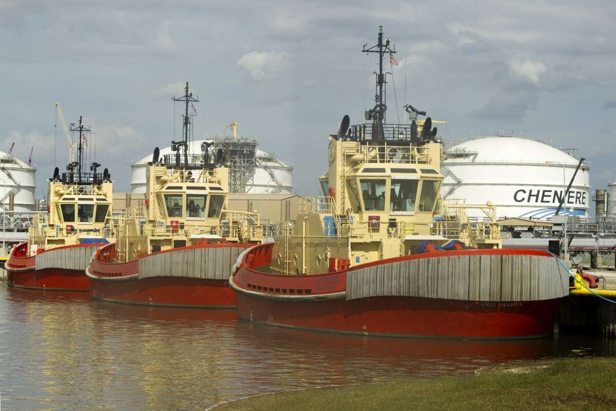 Custom tugboats that are designed to tug the specialized LNG tankers are docked at the Cheniere's Sabine Pass LNG facility on Tuesday, Oct. 28, 2014, in Cameron, Louisiana. (J. Patric Schneider / For the Chronicle )