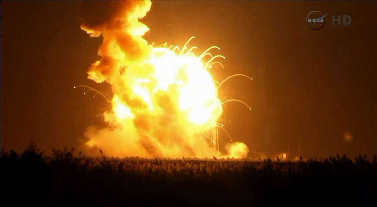 The Antares rocket, intended to deliver supplies to the International Space Station in orbit above Earth, exploded Tuesday evening on Oct. 28, 2014.