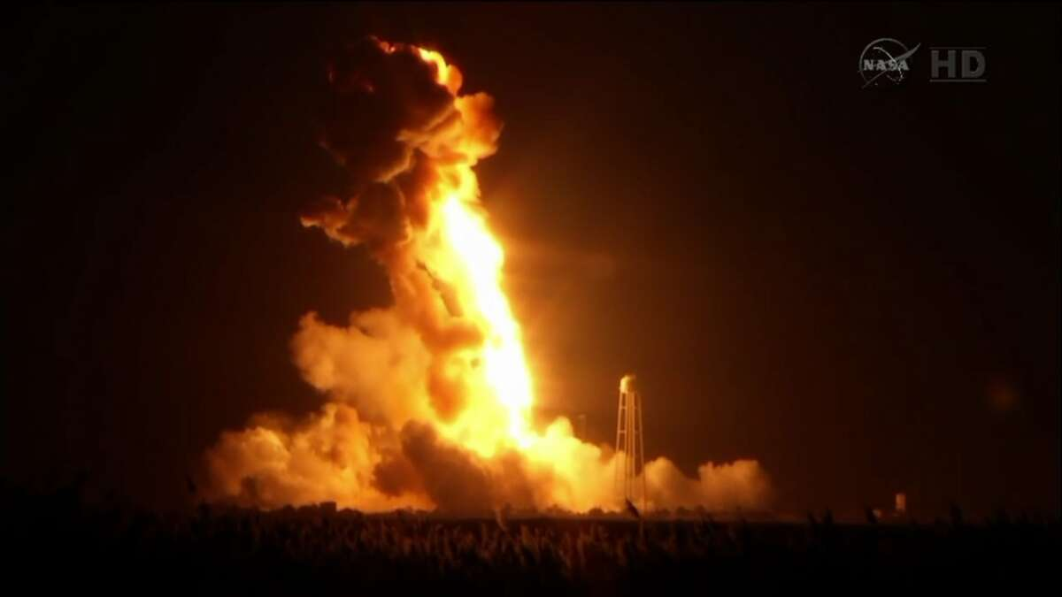A NASA Antares rocket exploded on the launch pad in Virginia, Tuesday, Oct. 28, 2014. (NASA.gov)