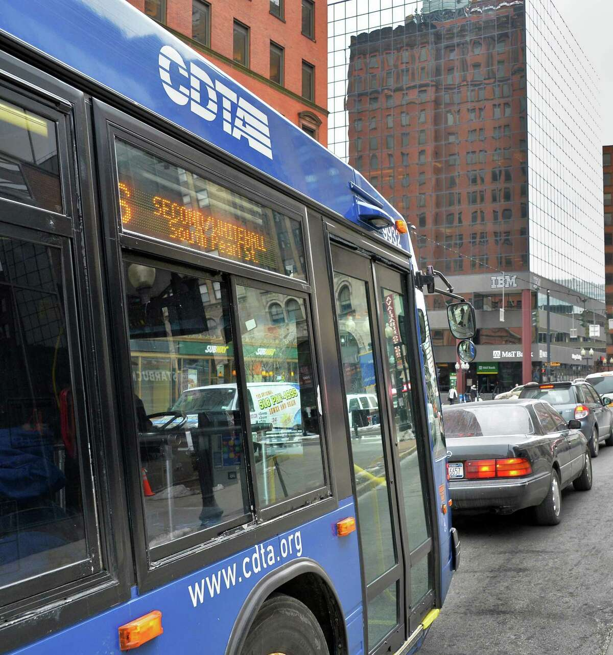 A CDTA bus on North Pearl Street Wednesday March 5, 2014, in Albany, NY. (John Carl D'Annibale / Times Union)