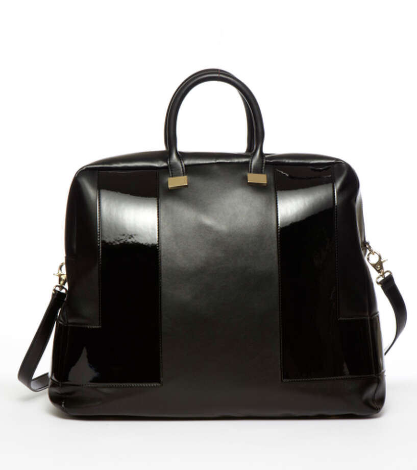 Jill Milan Soho Oversized Carryall, in patent and matte faux leather, $600. www.jillmilan.com Photo: Jill Milan / ONLINE_YES