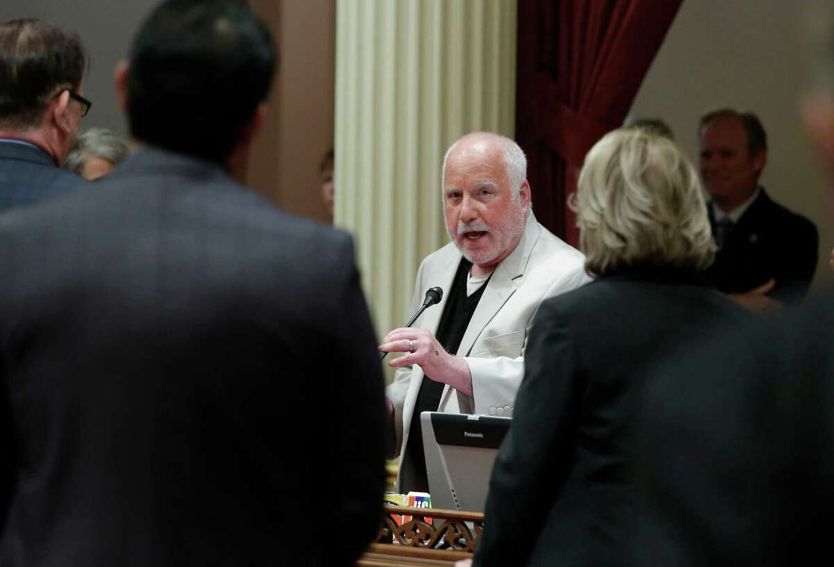 Actor Richard Dreyfuss addresses lawmakers during his visit to the state Senate at the Capitol, Thursday, Aug. 21, 2014, in Sacramento, Calif. Dreyfuss was presented a Senate Resolution for his work promoting civics education in public schools through the Dreyfuss Initiative. (AP Photo/Rich Pedroncelli) ORG XMIT: CARP102